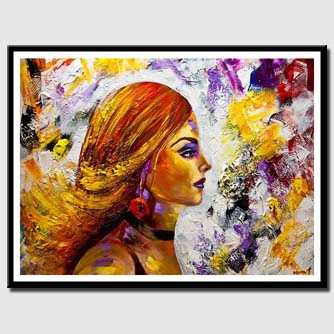 canvas print of colorful woman portrait pop art textured painting