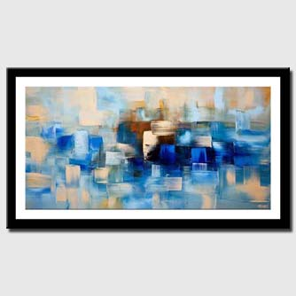 canvas print of blue contemporary abstract painting home decor