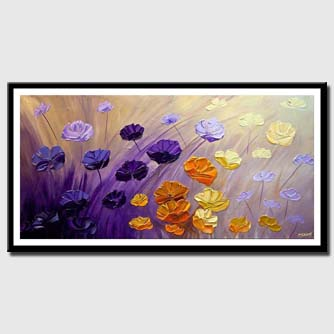 canvas print of purple flowers painting original textured contemporary modern palette knife abstract