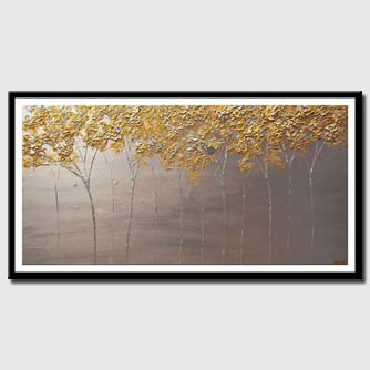 canvas print of blooming trees painting modern palette knife silver gold painting