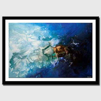 canvas print of contemporary blue abstract art blue painting