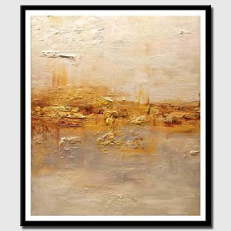 canvas print of gold cream textured modern abstract art