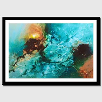 canvas print of Blue abstract art wall hanging