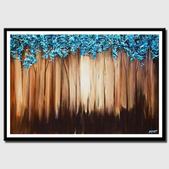canvas print of modern blue landscape abstract painting