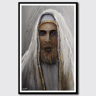canvas print of rabbi painting textured religious  figure painting
