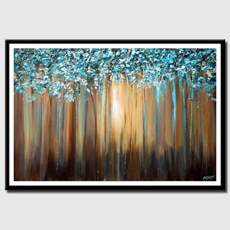 canvas print of light blue blooming trees textured painting