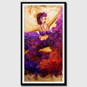 canvas print of woman dancing colorful painting