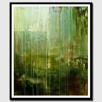 canvas print of green abstract painting