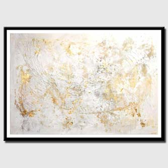 canvas print of large modern white textured abstract painting
