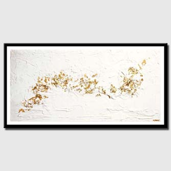 canvas print of gold white textured abstract art
