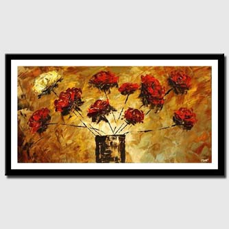 canvas print of abstract sunrise painting floral flowers