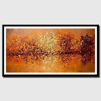 canvas print of modern textured orange blooming trees painting