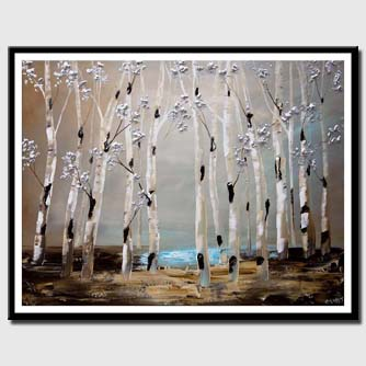 canvas print of abstract birch trees painting