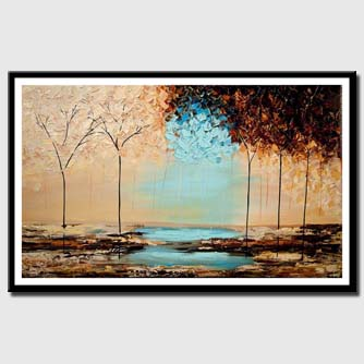 canvas print of blooming forest painting heavy textured brown blue colors painting