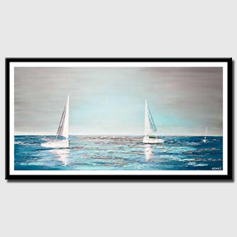 canvas print of modern teal abstract sailboats painting