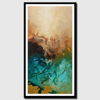 canvas print of teal turquoise abstract art