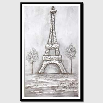 canvas print of white silver Eiffel Tower abstract painting