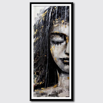 canvas print of black gold portrait abstract painting