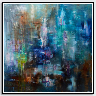 modern blue green abstract art