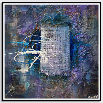 blue purple lavender textured abstract painting
