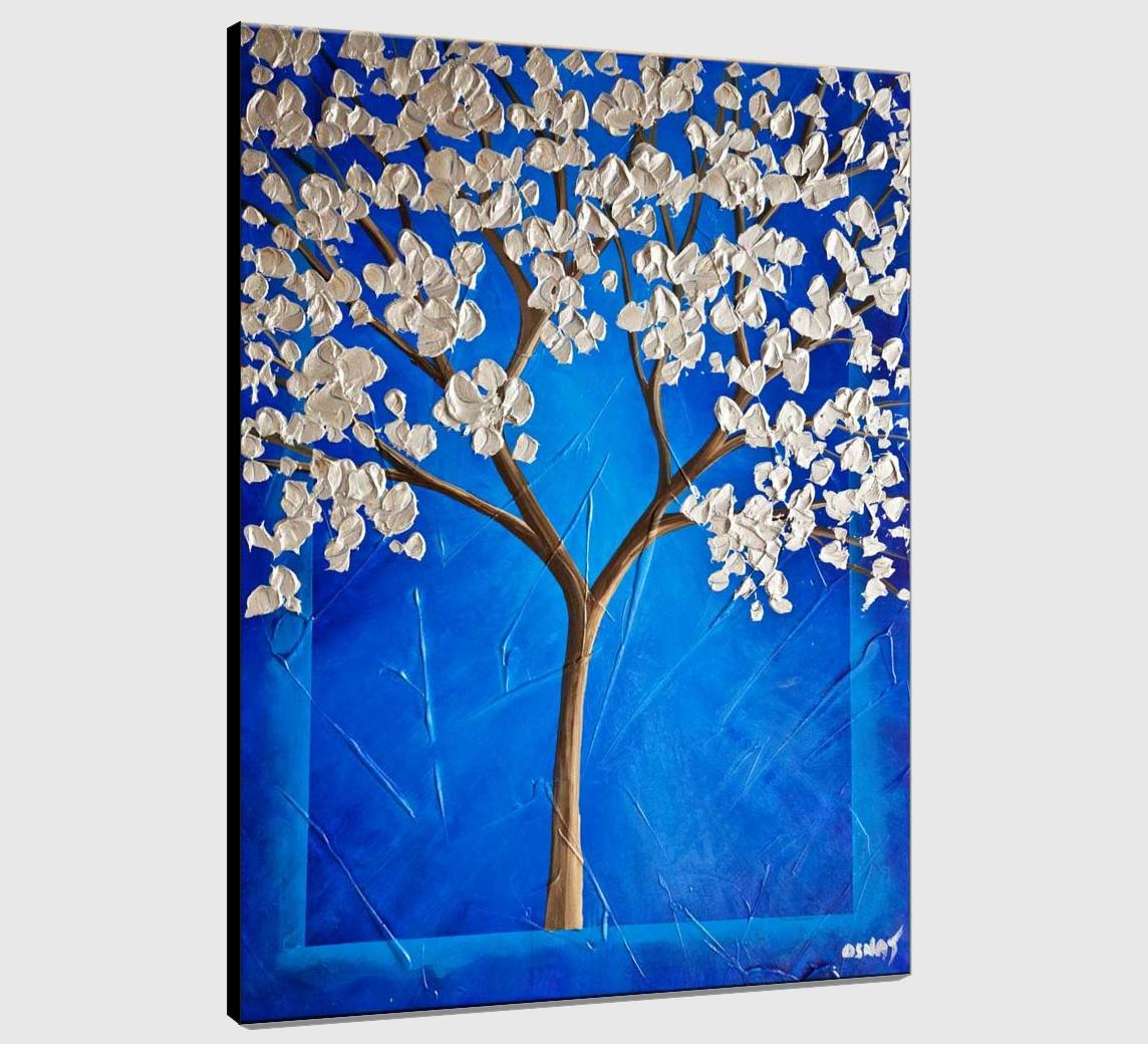 57d909819 Painting for sale - canvas print of cherry blossom painting blue ...
